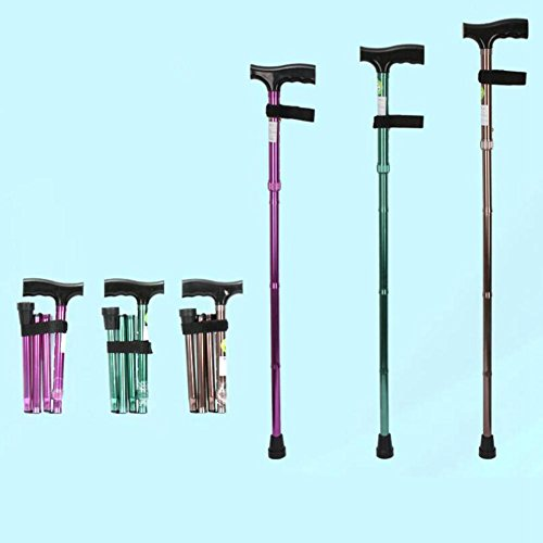 JINGLI WANGJINLI Old People Crutches Collapsible Four Paragraphs Equivalent Portable Single-Handedly Walking Stick, Rose Red (Walking Rose Shorts)