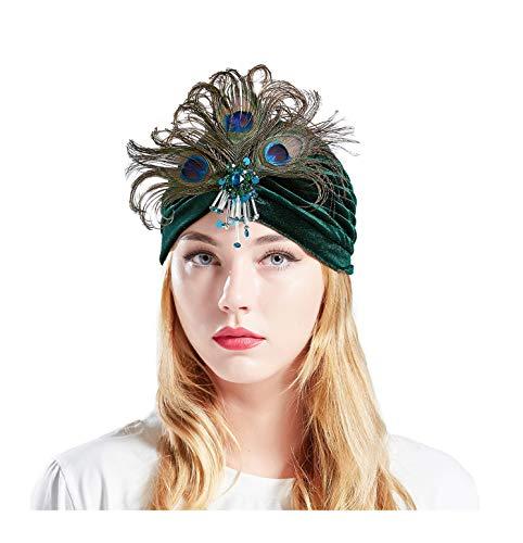 BABEYOND Gatsby Turban Hat Vintage 1920s Head Wrap Knit Pleated Turban 20s Cap (Dark Green) ()