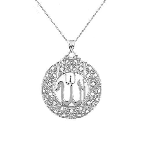 Exquisite 14k White Gold Diamond Round Islamic Allah Filigree Pendant Necklace (Large), 18