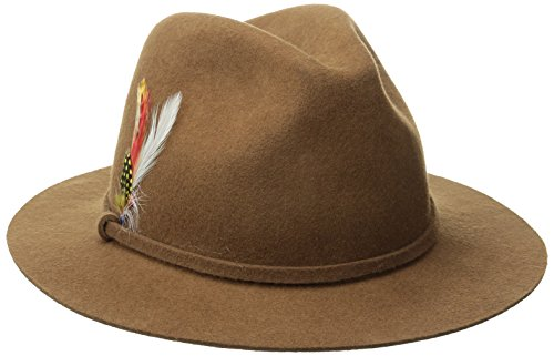 SCALA Women's Felt Safari Hat with Feather Trim, Pecan, One Size ()