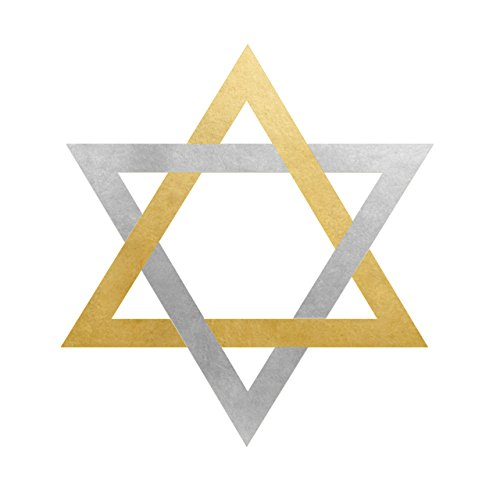 Star of David Gold and Silver set of 25 premium waterproof metallic holiday Hanukkah temporary jewelry foil Flash Tattoos - Party Favors - Party Supplies -Holiday parties