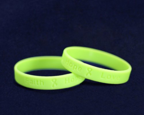Fundraising For A Cause 50 Pack Child Lime Green Awareness Silicone Bracelets - Child Size (Wholesale Pack - 50 Bracelets)