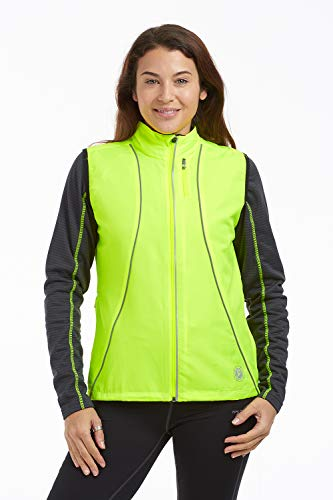 time to run Women's Windproof Running/Workout/Track Gilet Sleeveless Bodywarmer Vest US Size 8 Lime Green