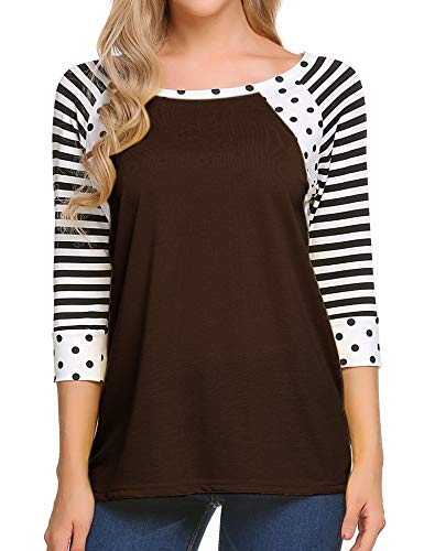 Zeagoo Women's Polka Dots Shirt Striped 3/4 Sleeve Casual Scoop Neck Tops Tee, Coffee, -
