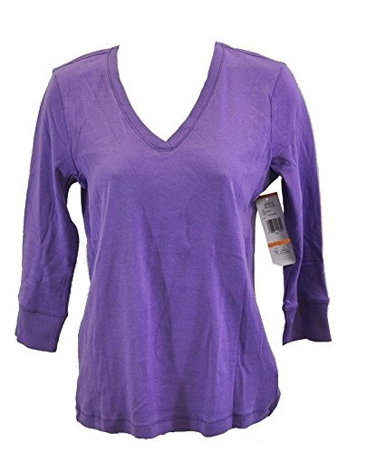 Jones New York Sport 3/4 Sleeve V-Neck Sweater (s, Purple Passion)