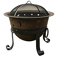"""Catalina Creations 29"""" Heavy Duty Cast Iron Fire Pit with Cover and Accessories"""