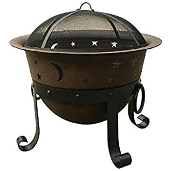 Catalina Creations Heavy Duty Cast Iron Fire Pit with Cover and Accessories, 29""