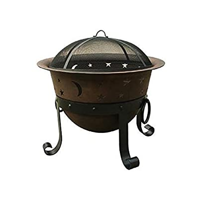 """Catalina Creations 29"""" Heavy Duty Cast Iron Fire Pit with Cover and Accessories - STURDY: 29.5"""" wide x 19.7"""" tall, and weighs 45 pounds FIRE BOWL: 29.5"""" wide cast iron cauldron comes with 4 sturdy legs - A removable 24"""" diameter mesh spark screen to protect against flying embers. STYLISH DESIGN: This large fire pit has a whimsical star and moon cutouts - fashionably designed and perfect for patio decor. - patio, outdoor-decor, fire-pits-outdoor-fireplaces - 41jVZkU58ZL. SS400  -"""