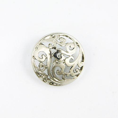 【ハンドメイド工房】コンチョ ボタン 23㎜ 透かしデザイン シルバー 5個セット