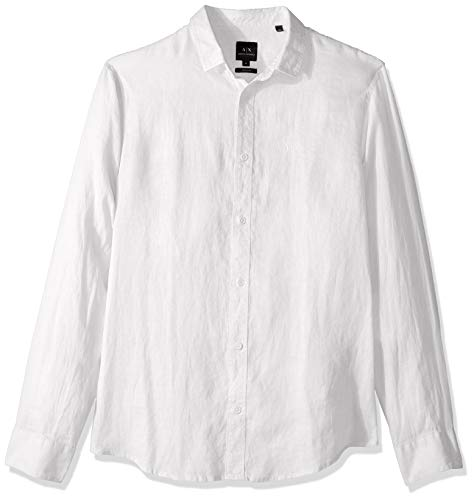 A|X Armani Exchange Men's Solid Colored Long-Sleeve Cotton Button Down, White, L