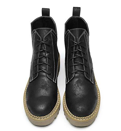 Shiney Wind Winter Herbst Studenten Stiefel Winter Frauen Black Heel Stiefel Stiefel 2018 Martin British Flache Kurze Chunky Weiblich YYZrqw
