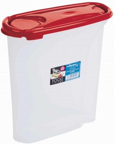 Cuisine 2.5L Cereal Dispenser Clear/Chilli Red (3) Wham
