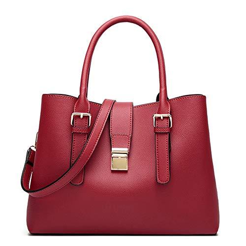 Rojo Capacidad Marrón Handbags Ladies Bolsos Gran Para Bandolera bags Vino Wangkk Bolso Mujeres De fOqAvwx