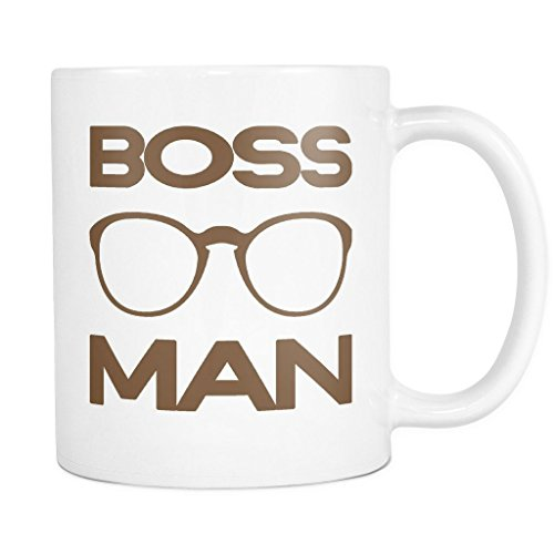 BOSS MAN with Glasses Coffee Mug, PERFECT PERSONALIZED MEN GIFT for Boss Husband Boyfriend Father Son Guy! Attractive Durable White Ceramic Mug STYLE - Logo Sign Sunglasses Plus With