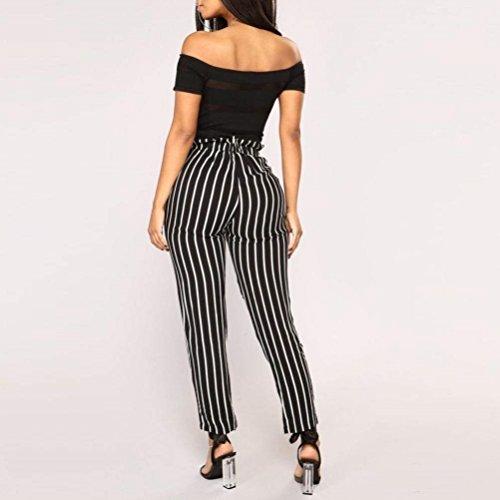 Pantaloni Pantaloni Accogliente Nero Waist Pantaloni Fit Stripe Vintage Grazioso Donna Libero Eleganti Slim Per Fashion Estivi Leggero Harem Pantaloni Tempo High Donna Ywx5qZ1Cn