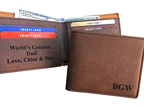 Personalized Leather Bifold Wallet Monogrammed Custom Mens Wallet Gift Brown Initials