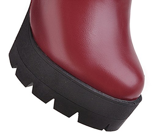 British Boots Fashion and and Boots Female Winter Heeled Autumn High United Red Style Europe States Short Thick Martin The gwWP77TqC