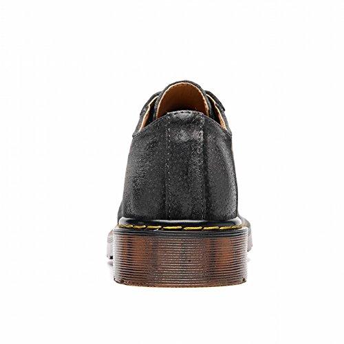 Round Chic Grey Mens Charm Heel Foot Martin Low Oxfords Dark Shoes Toe ZYBwx6Eqn