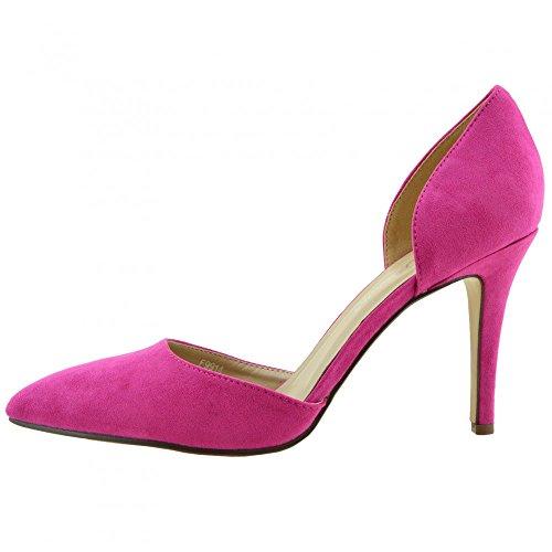 Fucsia Tacco Scarpe Festa A Womens Stilletto Punta Kick Footwear qT8Tg