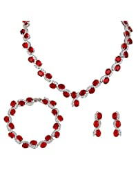 Ever Faith Silver-Tone Full Cubic Zirconia S-Shaped Necklace Earrings Bracelet Set Ruby Color N04960-1