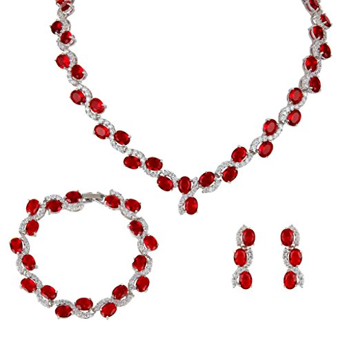 EVER-FAITH-Silver-Tone-Zircon-Wedding-S-Shaped-Necklace-Earrings-Bracelet-Set-Ruby-Color
