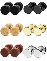FIBO STEEL 6 Pairs Stud Earrings for Men Women Ear Piercing Ear Plugs Tunnel 18G