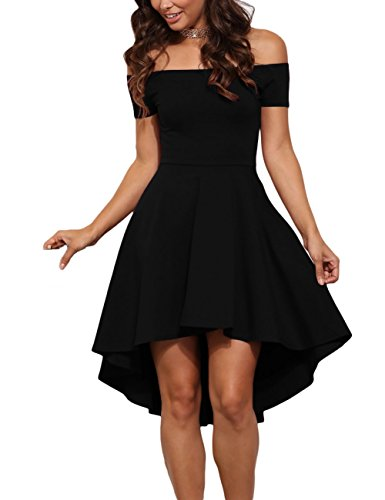 Jug&Po Women Off Shoulder Short Sleeve High Low Skater Dress Black Small