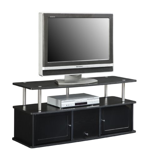 convenience concepts designs2go tv stand with 3 cabinets for flat panel tv 39 s up to 50 inch or 85. Black Bedroom Furniture Sets. Home Design Ideas