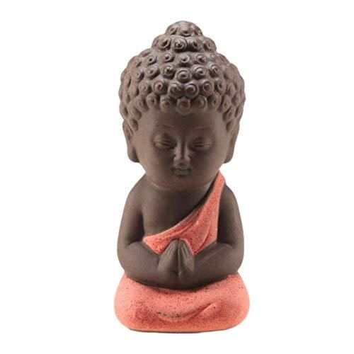 ANARUTO Home Sculpture Statues Small Buddha Monk Figurine Tathagata India Yoga Mandala Tea Pet Purple Ceramic Crafts Decorative Ceramic Ornaments Monk 35 Mm Purple Dragon