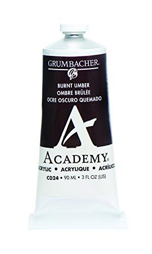 Grumbacher Academy Acrylic Paint, 90ml/3 oz Metal Tube, Burnt Umber
