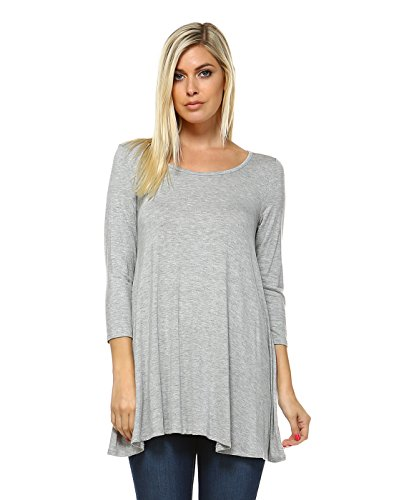 3 4 Sleeve A Line Swing Tunic Tops For Leggings For Women Made In USA XXXL Heather Grey
