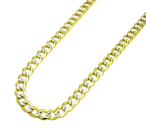 14K Yellow Gold Men's 4.5MM Pave Cuban Bracelets Lobster Clasp, (9) by Jawa Fashion
