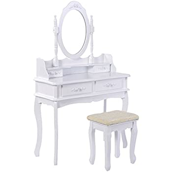 Amazon Com Mecor Vanity Table Set With Oval Mirror 4