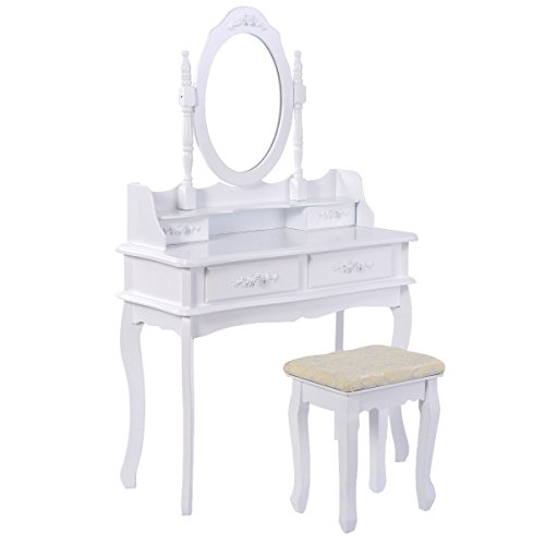 Giantex White Bathroom Vanity Jewelry Makeup Dressing Table Set W/Stool Mirror Wood Desk (4 Drawers) by Giantex