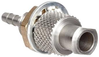 "Female Luer Lock to Bulkhead Adapt 1/4-32 Nickel Plated Brass Tube ID 3/32"" .105"" Barb OD"
