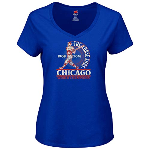 Nalie Sports Chicago Baseball Fans. The Curse Ends Ladies T-Shirt (Sm-2X) (V-Neck, Small)