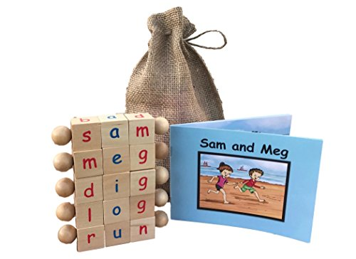 Montessori Phonetic Letter Blocks for Reading and Early Learning (5-Piece Set) English Educational Toys for Boys & Girls | Beginning Reader Language Phonics | Ages 3+ ()