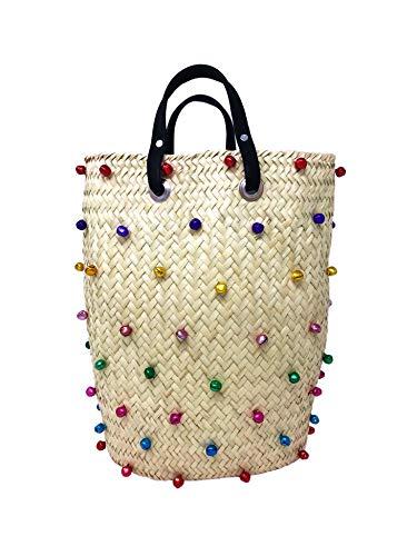 (Cuckoo B Lola straw tote bag with bells)