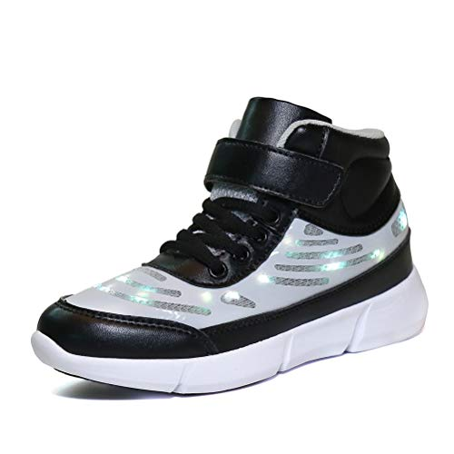 AFT AFFINEST Energy LED Light Up Shoes High Top Flashing Sneakers for Boys Girls(Black,36)