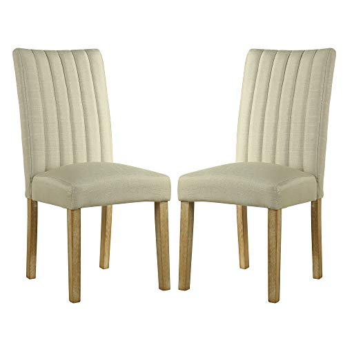 (LSSBOUGHT Upholstered Fabric Parsons Dining Chairs, Set of 2, Beige)