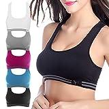 WENOVL Sports Bras for Women, Female Trackless No Rings Yoga Running Sports Workout Bra Underwear with Vest Underwear (M, Purple)