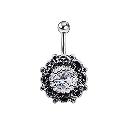 Bling Stars Flower Shape Crystal Navel Belly Button Bar Barbell Rings Body Piercing Jewelry Rhinestones ()