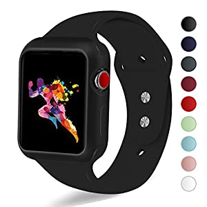 KEASDN Apple Watch Band Case 38mm 42mm, Silicone Sport iWatch Strap Band Shock-proof Case Apple Watch Series 3/2/1 Sport Nike Edition from KEASDN