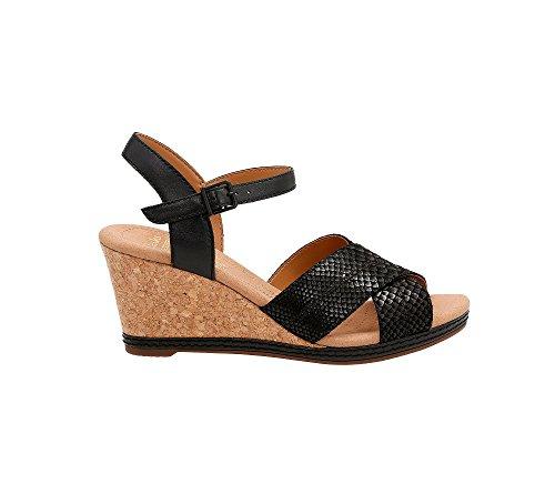 Clarks Vrouwen Helio Breedte Wedge Sandaal Zwart