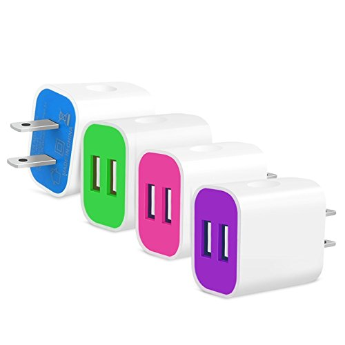 Frerush [4-Pack] 2A 5V 2 Port Colorful USB Wall Travel Home Charger Plug Power Adapter for iPhone SE 6, Samsung, iPad, HTC, Nexus, Blackberry, LG, Sony, Bluetooth, Power Bank