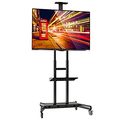 Mount Factory Rolling TV Stand Mobile TV Cart for 40-90 inch Plasma Screen, LED, LCD, OLED, Curved TV's - with Mount for Universal with Wheels