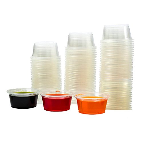 Adorox Plastic Restaurant Condiment Sauces Jello Shot Souffle Party Clear Cups with Lids (2 oz, Clear (125 Cups))