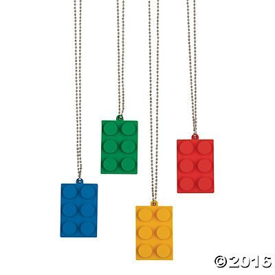 Fun Express Brick Building Block Party Necklaces - 12 pc