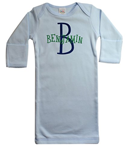 Baby Boy Sleeper Gown Monogrammed Embroidered with Custom Name and Initial (Navy & Green Thread)