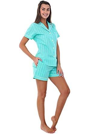 Alexander Del Rossa Womens Cotton Pajamas, Short Button Down Woven Pj Set, Small Green Striped (A0550V07SM)